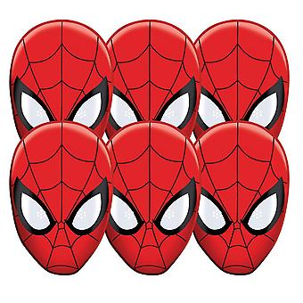 Spider-Man Party Card Face Mask Value Pack of 6