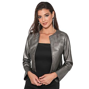 KRISP  Women Ladies PU Leather Cropped Jacket Open Blazer Long Sleeve Bolero Shrug Coat