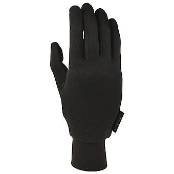 Extremiteiten zwarte zijde liner handschoen