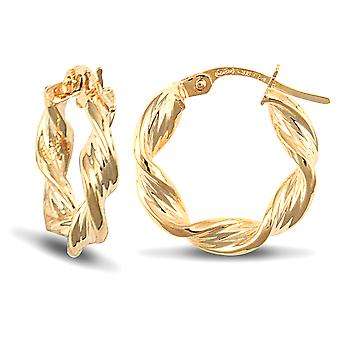 Jewelco London Ladies 9ct Yellow Gold Barked Platted Candy Twist 3.5mm Hoop Earrings 17mm