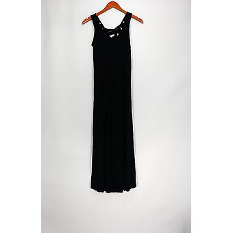 Kate & Mallory Dress Sleeveless Lace Up Detail Maxi Style Black