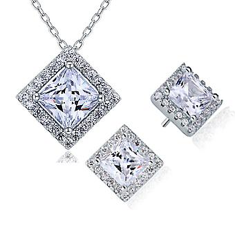 925 Sterling Silver Princess Cut 2.5 Carats Simulated Diamond Pendant And Earrings Set