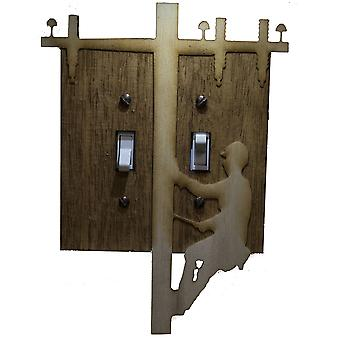 Lineman double switch plate - raw wood - 5.8