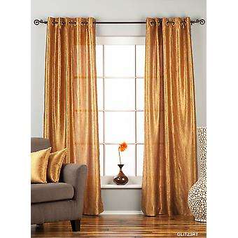 Gingery Gold Ring / Grommet Top Textured Curtain / Drape / Panel - 84