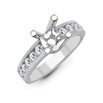 Jewelco London Solid 18ct White Gold Channel Set Round G SI1 0.35ct Diamond Semi Set Mount Engagement Ring 6mm