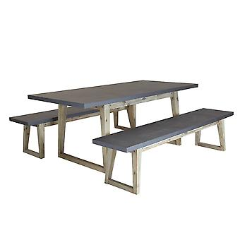 Charles Bentley Natural Fibre Concrete and Wooden Dining Set