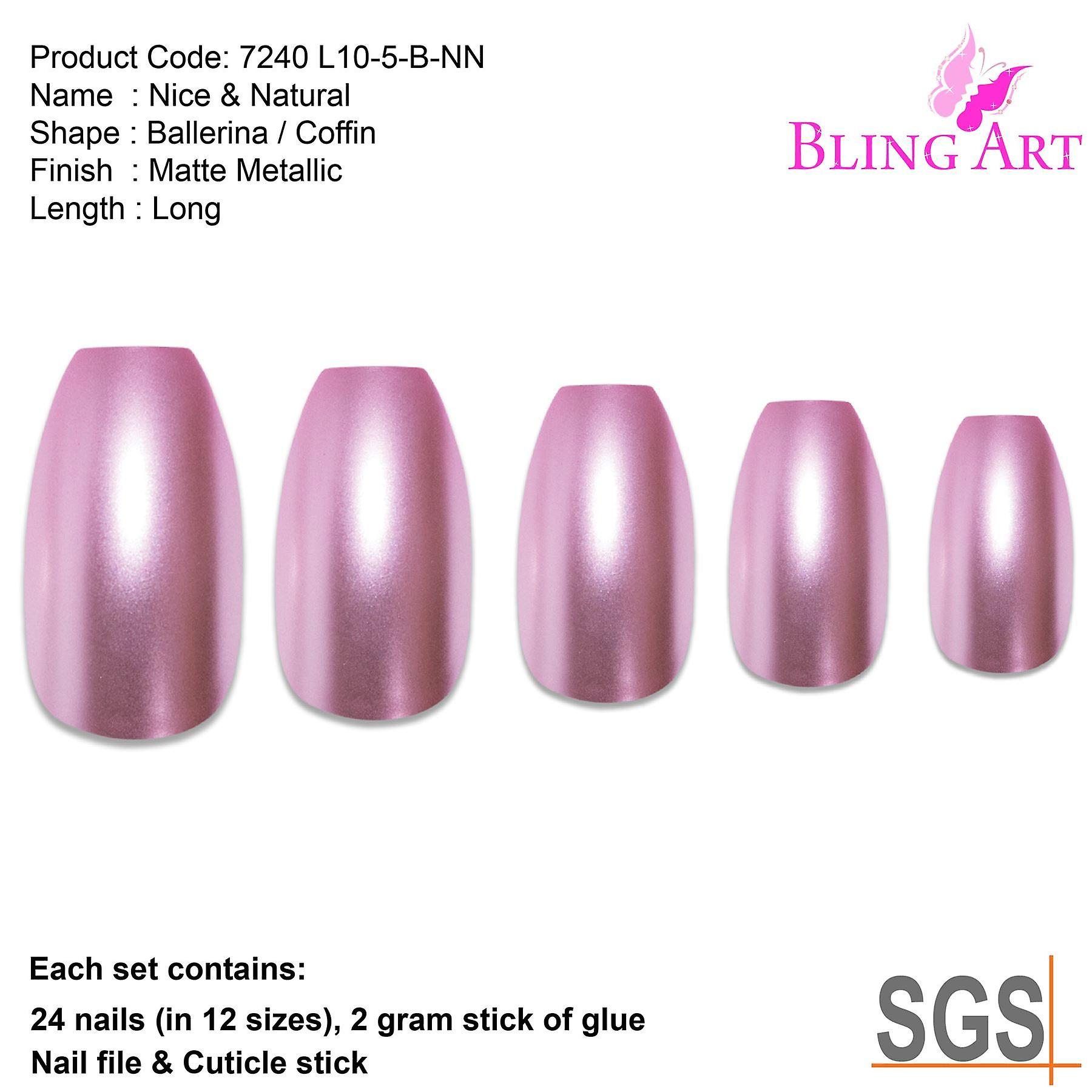 False nails by bling art pink matte metallic ballerina coffin fake acrylic tips