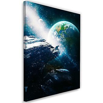 Picture on Canvas XXL abstract Image Decor cosmos Blue