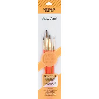 Crafter's Choise Watercolor Brush Set 4 Pkg Round 2,4,8 Liner 0 Cc211
