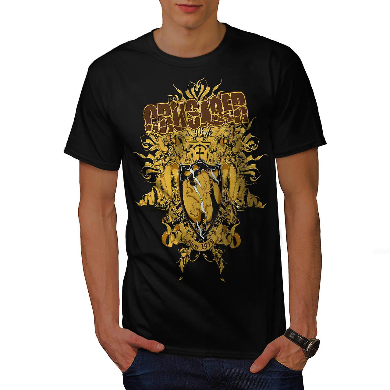 Cavaliere crociato Hero Warriors uomini t-shirt nero | Wellcoda