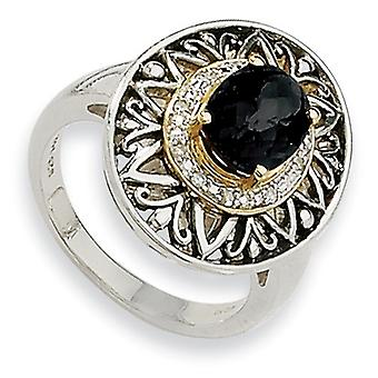 Sterling Silver With 14k 6x9mm Simulated Onyx and 1/20ct. Diamond Ring - Ring Size: 6 to 8