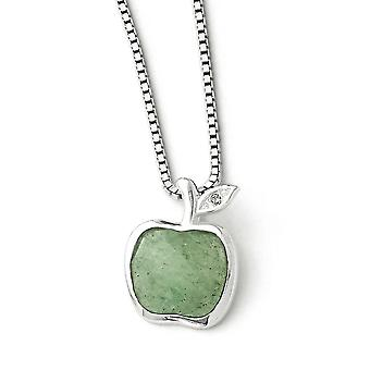 Sterling Silver White Ice Green Aventurine and 1/2pt Diamond With 2inch Ext. Necklace - 18 Inch