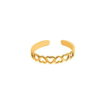 14 k Gelb Gold glänzende Herzen Manschette geben Zehenring -.6 Gramm