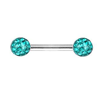 Mamelon Bar Barbell, Piercing intime, Multi Crystal | Longueur 10-18mm | 12Colours