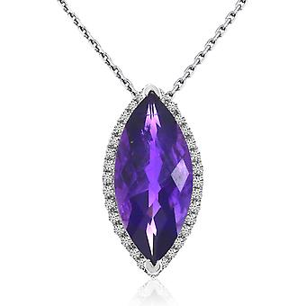14k White Gold Marquis Amethyst and Diamond Pendant with 18