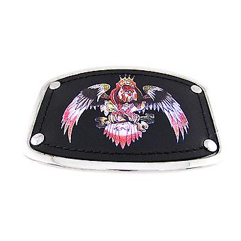 Chrome & Black Leather Tattoo Dog Eagle Belt Buckle