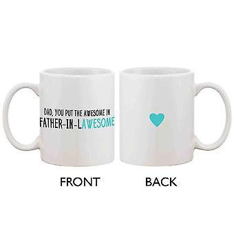 Funny Ceramic Coffee Mug for Dad - Father-In-Lawesome, Best Father's Day Gift for Father 11oz Mug