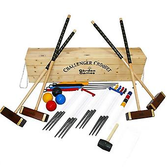 Garden Games Challenger 4 Player Croquet set in a Pine Box