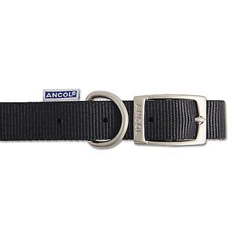 Heritage Nylon Collar Black 15mm X28-36cm Sz3