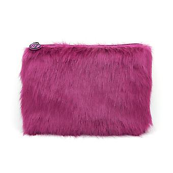 W7 Purple Fluffy/Furry Large Cosmetic Toiletry Make Up Bag