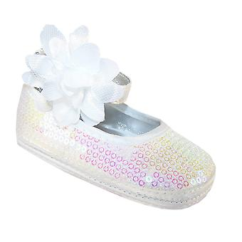 Baby girls white sequin soft sole shoes