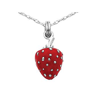 Red Enamel Strawberry Pendant Necklace in Sterling Silver with Chain