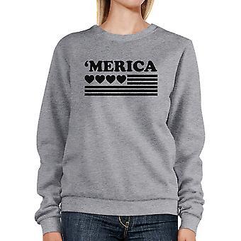 Heart 'Merica Unisex Grey Sweatshirt Pullover Fleece Round Neck Top