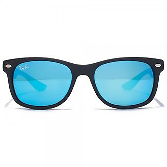 Ray-Ban Junior Wayfarer Sunglasses In Matte Black Blue Mirror
