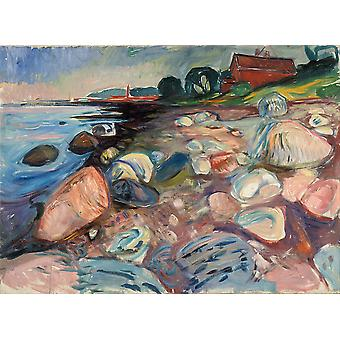 Edvard Munch - Shore with Red House Poster Print Giclee