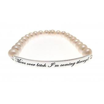 Bracelet de perles d'eau douce de W.A.T Sterling argent « Move Over Bitch qu'i ' m Coming à travers »