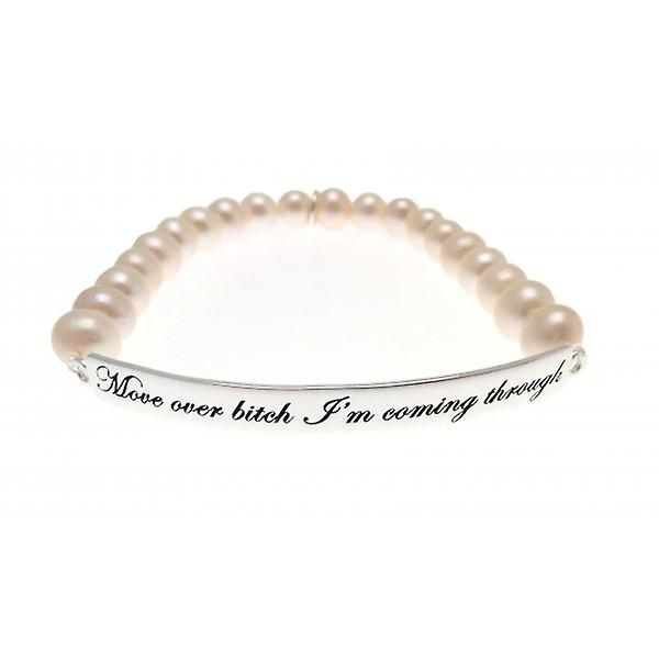 W.A.T Sterling Silver 'Move Over Bitch I'm Coming Through' Freshwater Pearl Bracelet