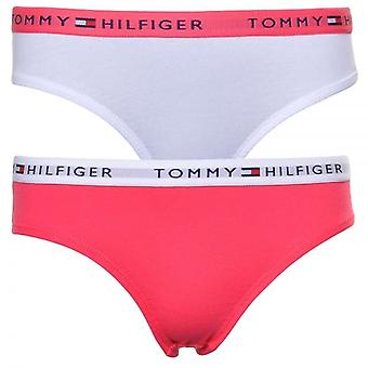 Tommy Hilfiger Girls 2 Pack Iconic Bikini Brief, Red / White, Medium
