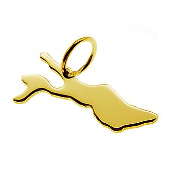 Trailer map Constance pendant in solid 585 yellow gold