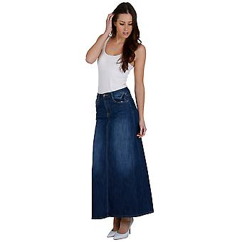 Long Stonewash Denim Skirt SKIRT68 Womens Maxi Skirt Full Length Denim Skirt