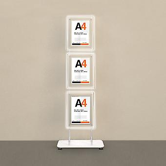 Floor Standing 3 poche A4 Portrait Poster LED Display