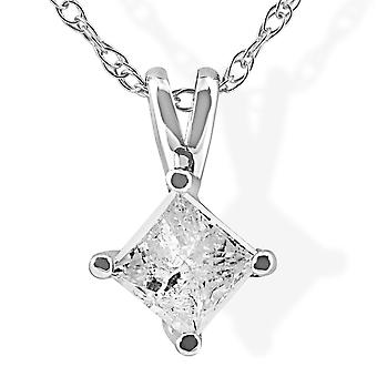 1/3Ct Princess Cut Solitaire Diamond 14K White Gold Pendant & Chain