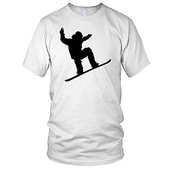 Snowboarding Jump Silhouette B&W- Sports Snow Winter Sports Kids T Shirt