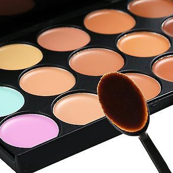 15 tonos color corrector maquillaje paleta Kit maquillaje Set + Oval maquillaje cepillo