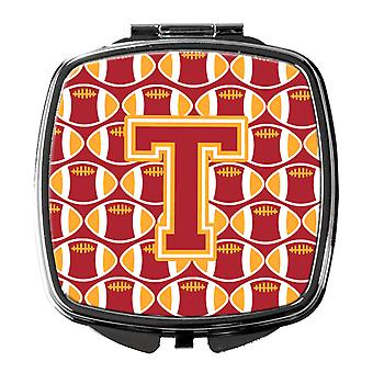 Letter T Football Cardinal and Gold Compact Mirror