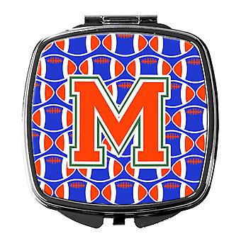 Letter M Football Green, Blue and Orange Compact Mirror