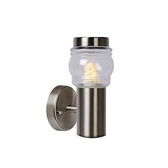 Lucide Mirane Stainless Steel IP44 Clear Lens Outside Wall Light