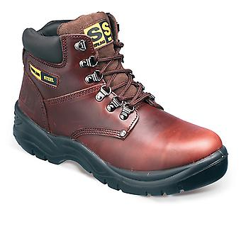 Sterling Steel Brown Leather Safety Work Boots. Steel Toe & Midsole  – SS807SM