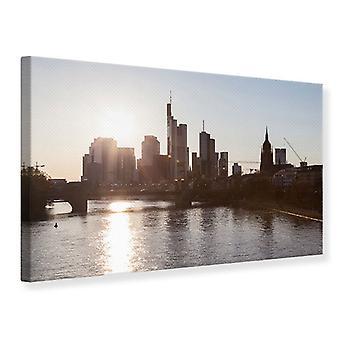 Lærred Print Skyline solopgang i Frankfurt