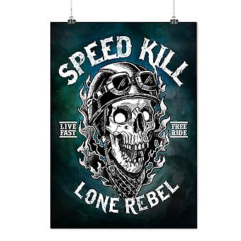 Matte or Glossy Poster with Speed Kill Skull Horror | Wellcoda | *d2819