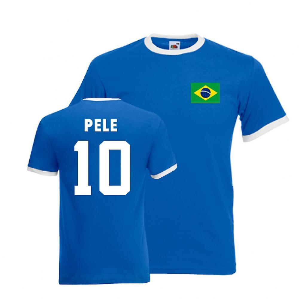 Pele Brazilië Ringer Tee (blauw)