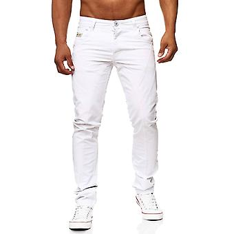 Men long jeans pants biker look white denim new men coated