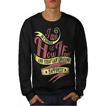 I Choose Happiness Men BlackSweatshirt | Wellcoda