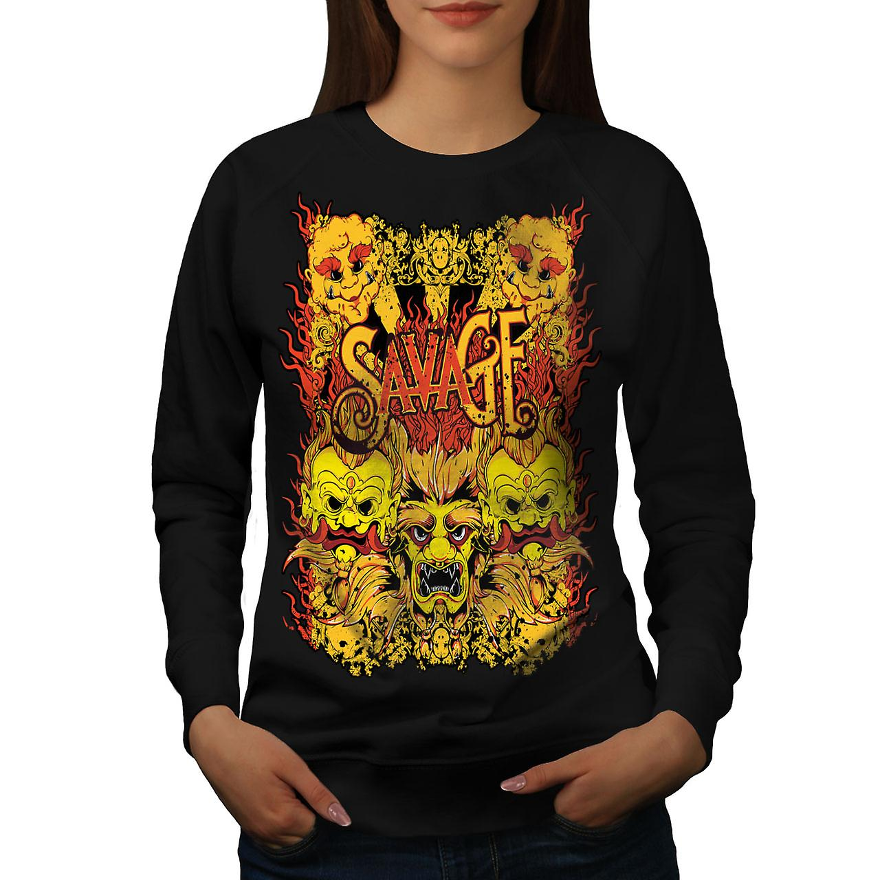 Savage Devil Japan Women BlackSweatshirt | Wellcoda