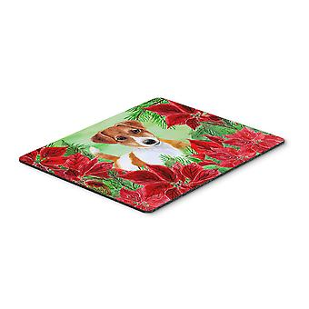Jack Russell Terrier Poinsettas Mouse Pad, Hot Pad or Trivet
