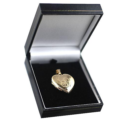 9ct Gold 30x28mm hand engraved heart Locket